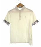 トップス ポロシャツ 鹿の子 半袖 ロゴ 刺繍 袖ロールアップ コットン 白 2