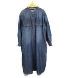 デニム オーバーシャツ ワンピース ドレス ロング バンドカラー UR04-26X008 インディゴ ブルー Free