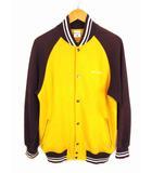 スタジャン ジャケット ブルゾン スウェット フロントスナップボタン PM6449 イエロー ブラウン ホワイト 黄 茶 白 サイズM