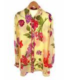 長袖 シャツ ブラウス 花柄 総柄 シルク 絹 裾サイドスリット チュニック丈 サイズ9R ベージュベース マルチカラー