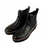サイドゴア 厚底 ショートブーツ 靴 フェイクレザー 合成皮革 ラウンドトゥ 黒 ブラック L