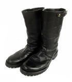 ミドル ブーツ レザー 本革 黒 ブラック 23cm