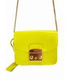 フルラ FURLA チェーンショルダーバッグ ミニ レザー 革 ポシェット フラップ イエロー 黄 鞄 カバン