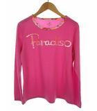 パラディーゾ PARADISO テニスウェア トップス Tシャツ ロゴ プリント ラウンドネック 長袖 ピンク系 M