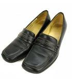 クラークス clarks ローファー 靴 シューズ スクエアトゥ ミドルヒール レザー 革 ブラック 黒 UK4