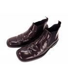 サイドゴアブーツ レザー 革 靴 ショートブーツ スクエアトゥ サイズ26 ブラウン 茶