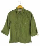シップスジェットブルー SHIPS JET BLUE トップス ミリタリーシャツ コットン ダブルポケット エポレット 七分袖 無地 カーキグリーン 緑系 M