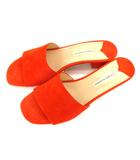 ファビオルスコーニ FABIO RUSCONI サンダル ミュール ローヒール スエード レザー 革 靴 オレンジ サイズ38 イタリア製
