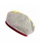 ヴィヴィアンウエストウッド Vivienne Westwood ベレー帽 帽子 クリーピーベア クマ プリント ロゴ ウール ベロア グレー ワインレッド系 M