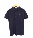 トップス ベーシック ポロシャツ 半袖 鹿の子 コットン ロゴ ワッペン L1113A 紺 ネイビー 36