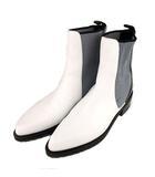 ショート ブーツ シューズ サイドゴア 靴 レザー 黒 白 38