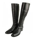 レザー ロング ブーツ 靴 サイドファスナー 黒 ブラック 24cm