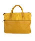 パイソン 蛇革 ビジネスバッグ ブリーフケース ハンドバッグ かばん 鞄 レザー 山吹色