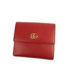 グッチ GUCCI GGマーモント フレンチフラップ ウォレット 二つ折り 財布 レザー 456122 赤 レッド