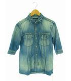 ラウンジリザード LOUNGE LIZARD トップス デニムシャツ ユーズド加工 ダブルポケット 五分袖 ライトブルー系 水色 2