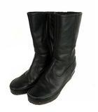 イング ing ハーフ ブーツ 靴 レザー サイドファスナー 黒 ブラック 24.5cm