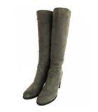 ロートレアモン LAUTREAMONT ロング ブーツ 靴 スウェード 羊革 ストレッチ グレー 38