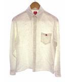 アベイシングエイプ A BATHING APE 長袖 シャツ ボタンダウン カラーネップ ワンポイント刺繍 白ベース ホワイトベース マルチカラー サイズM