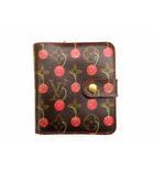 二つ折り財布 コンパクトウォレット コンパクト ジップ モノグラム チェリー M95005 CA0015 ブラウン系 レッド