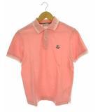 トップス ポロシャツ 半袖 鹿の子 ロゴ ワッペン コットン ピンク ホワイト S ★AA☆