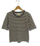 アニエスベー agnes b. トップス Tシャツ カットソー 五分袖 ボーダー 綿 コットン グレー オフホワイト 2