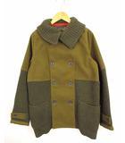 キューブシュガー CUBE SUGAR ニット 切替 コート ジャケット 上着 アウター ダブルボタン カーキ グリーン M