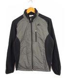 アディダス adidas ゴルフウェア コンビネーション フリースジャケット 中綿 上着 ジップアップ ロゴ 刺繍 A08927 グレー ブラック M