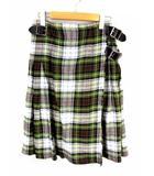 オニール オブ ダブリン O'NEIL OF DUBLIN ラップスカート 巻きスカート チェック リネン 麻 膝丈 フレア マルチカラー アイルランド製 サイズUS6