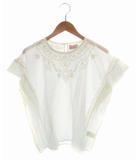 マオメイド mao made トップス カットソー ブラウス フレンチスリーブ 半袖 刺繍 コットン 白 ホワイト Free