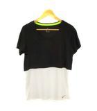 ナイキ NIKE トップス カットソー Tシャツ スポーツウェア トレーニングウェア 切替 半袖  903891-011 ブラック ホワイト 黒 白 L