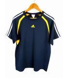アディダス adidas トップス カットソー Tシャツ スポーツウェア トレーニングウェア 半袖 切替 ライン 紺 ネイビー O