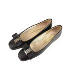 サルヴァトーレフェラガモ Salvatore Ferragamo ヴァラ パンプス シューズ 靴 リボン レザー マット 黒 ブラック 6C