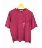 ユニクロ UNIQLO オーバーサイズクルーネックT(半袖) Tシャツ カットソー ポケット 無地 綿 コットン 341-419572 ワインレッド サイズM タグ付き