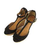 チェンバー CHEMBUR ストラップ サンダル ウェッジソール スウェード レザー 靴 黒 ブラック 36 1/2