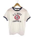 バズリクソンズ BUZZ RICKSON'S 半袖 リンガーT Tシャツ カットソー BR76576 U.S.NAVY FIGHTING 41 プリント クルーネック 白 ホワイト サイズM USA製