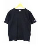 チャンピオン CHAMPION 半袖 Tシャツ カットソー ポケット 無地 T1011 クルーネック 黒 ブラック サイズM USA製