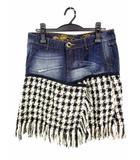 デシグアル Desigual スカート デニム ツイード  刺繍 ダメージ加工 フリンジ 切替 サイズ40 インディゴ 黒 白 ベージュ