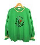 モンクレール MONCLER トップス ニット セーター 長袖 クルーネック ウール カシミヤ ロゴ 9050850 9489Y 緑 紺 グリーン ネイビー M