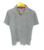 トミーヒルフィガー TOMMY HILFIGER トップス ポロシャツ 半袖 スキッパー ボーダー ロゴ刺繍 ワンポイント コットン 綿 ホワイト 白 ネイビー 紺 M