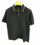 ステューシー STUSSY トップス ポロシャツ 半袖 スタッズ ロゴ プリント ライン 総柄 コットン 綿 ブラック 黒 ピンク M