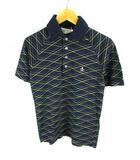 マンシングウェア MUNSINGWEAR トップス ポロシャツ 半袖 ロゴ刺繍 ワンポイント 総柄 コットン 綿 ネイビー 紺 ホワイト 白 イエロー 黄 S