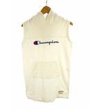 チャンピオン CHAMPION ワンピース ノースリーブ スウェット フード ロゴ刺繍 タグ コットン 綿 ホワイト 白 ブルー 青 レッド 赤 140cm ジュニア 子供服