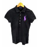ラルフローレン RALPH LAUREN トップス ポロシャツ 半袖 ワッペン ロゴ刺繍 ワンポイント ビッグポニー 鹿の子 コットン 綿 ブラック 黒 パープル 紫 M