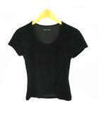 コムサデモード COMME CA DU MODE トップス カットソー Tシャツ 半袖 無地 ラウンドネック ベロア フェイクスエード ストレッチ ブラック 黒 11