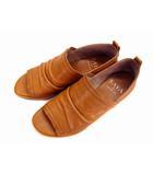 シューズ パンプス オープントゥ ローヒール レザー 革 靴 茶 ブラウン サイズ23
