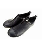 スリッポン フラットシューズ カジュアルシューズ クレープソール スリット レザー 革 靴 50388 黒 ブラック サイズ22.5