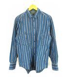 SUTTER CREEK 80's 90's トップス 長袖 シャツ ストライプ ポケット コットン ブルー系 M