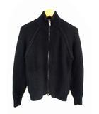 ニット ブルゾン ジャケット ジップアップ スタンドカラー 1041820009 無地 長袖 ウール カシミヤ 黒 ブラック サイズ 4