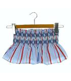 セットアップ 上下セット ベアトップ ロングスカート スモッキング 刺繍 マルチストライプ ミモレ丈 ライトブルー 水色