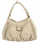 グッチ GUCCI グッチシマ ワンショルダーバッグ ハンドバッグ かばん 鞄 レザー ロゴ 型押し 190525 オフホワイト系 アイボリー系